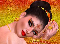 Exotic woman's face close up, Indian, Asian or Middle Eastern beauty concept. Stock Illustration