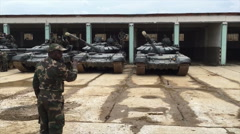 African military tank parks Stock Footage