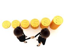 3d women shaking hand before gold coin stakes concept Stock Illustration