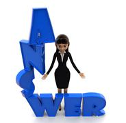 3d woman with answer text in blue concept - stock illustration