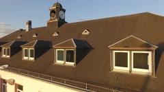Clock-tower chapel aerial flight Stock Footage