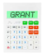 Calculator with GRANT Stock Photos