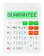 Calculator with GUARANTEE Stock Photos