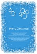Christmas frame with snowflakes over blue background. - stock illustration