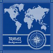 Blue travel background with dotted world map and compass rose. - stock illustration