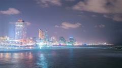 Israel - Tel Aviv - Beach at night - 2015 Stock Footage