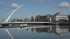 River Liffey, Samuel Becket Bridge, Dublin, Ireland Stock Footage