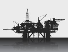 Sea oil rig. Oil platform in the deep sea. Detailed vector illustration. Piirros