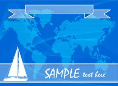 Blue travel background with yacht. Vector illustration. - stock illustration
