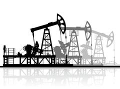 Oil pumps silhouette isolated on white - stock illustration
