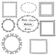 Set of circle polynesian tattoo styled frames - stock illustration