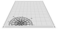 Compass rose silhouette over blueprint background. Vector illustration. - stock illustration