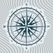 Compass rose over background with waves. Vector illustration. - stock illustration