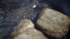 Olive oil frying pan and beef Stock Footage