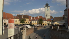View of the Small Square as seen from Liars Bridge, Sibiu Stock Footage