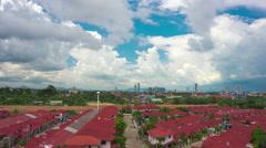 Cloudy sky over city timelapse 4k (4096x2304) Stock Footage