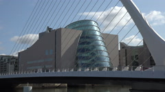 Close up, Samuel Becket Bridge and conventional Centre, Dublin, Ireland Stock Footage