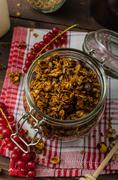Domestic granola, eat clean - stock photo