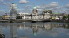 Talbot Memorial Bridge and Custom House, River Liffey, Dublin, Ireland Stock Footage
