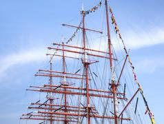 Old sailing boat rigging Stock Photos
