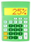 Calculator with 25 on display on white - stock photo
