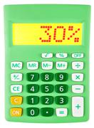 Calculator with 30 on display on white - stock photo