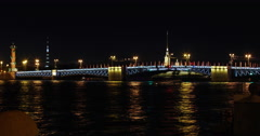 Russia, St. Petersburg 04.08.2015: Opens rises Palace Bridge - stock footage