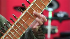 Man playing the sitar. Close-up. Stock Footage