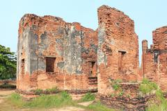 Ruined Old Temple of Ayutthaya, Thailand - stock photo