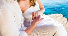 gentle touch of hands couple in love - stock photo