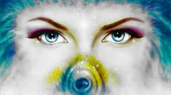 Women eyes looking up mysteriously from behind a small rainbow colored peacock Stock Illustration