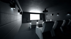 Interior Of Luxury Home Theater Stock Footage