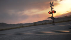 Locomotive Train Passing A Railway Crossing - stock footage