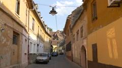 A narrow street in Sibiu Stock Footage