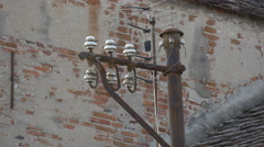 View of an electric pillar in Sibiu Stock Footage