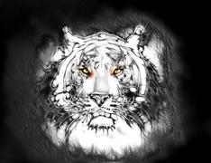 painting of a bright mighty tiger head on a soft toned abstract background eye - stock illustration