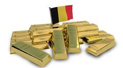 Belgian economy concept with gold bullion Stock Illustration