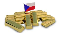 Stock Illustration of Czech economy concept with gold bullion