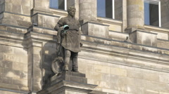 Statue on the Reichstag Building in Berlin Stock Footage