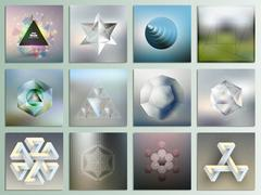Stock Illustration of Set of unreal figures and polygon patterns with the reflection, abstract