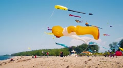Big Inflatable Kites flying on the beach Stock Footage