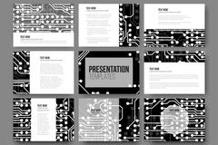 Set of 9 vector templates for presentation slides. Abstract microchip background Piirros
