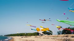 Kite flyers play there Inflatable Kites on The Beach Stock Footage