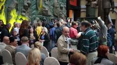 People in Zurab Tsereteli Art Gallery during fashion show Stock Footage
