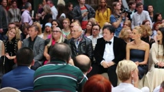 N.Mikhalkov and A.Mitroshenkov in Art Gallery during fashion show Stock Footage