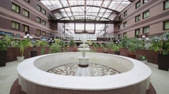 Fountain in hall of Scientific-practical center of medical care Stock Footage
