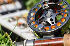 Fly fishing bugs and road with real Stock Photos