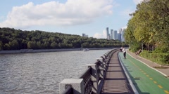 Bikeway along Luzhnetskaya embankment of Moscow river. Stock Footage