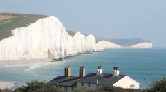 Seven Sisters Cliffs and Coastline Stock Footage