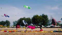 Kite Flyers packaging Kite's on The Beach. Stock Footage